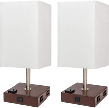 DEEPLITE Bedside Lamps for Bedrooms Set of 2,  with USB Port and Outlet