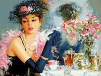 Elegant Beauty Portrait Hand painted Design Needlepoint Canvas 208