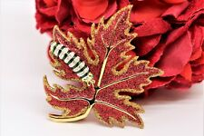 Joan Rivers Brooch Pin Red Glittering Maple Leaf With Caterpillar