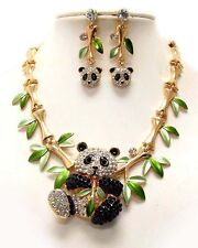 NEW CRYSTAL PANDA GOLD BAMBOO ANIMAL NECKLACE & EARRINGS RHINESTONE JEWELRY SET