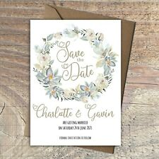 Personalised Save the Date Cards EUCALYPTUS WREATH packs of 10