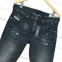 ⭐ Mens Diesel Thommer-X stretch Slim-skinny black denim jeans 0095R size W40 L32