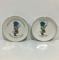 Vintage Porcelain Holly Hobbie Trinket Dish & Wall Hanging - Blue Holly - 1970s