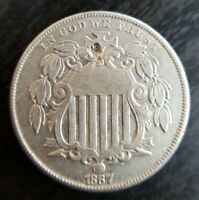 1867 Shield Nickel No Rays AU+ About Uncirculated Details Damage
