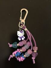 Sanrio Hello Kitty Key Chain Purple Beads 3D Body #16 Q