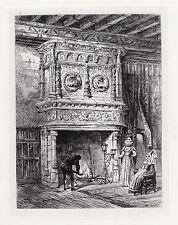 "Original 1800s ERNEST GEORGE Etching ""Louis XII Chimney Piece"" FRAMED Signed COA"