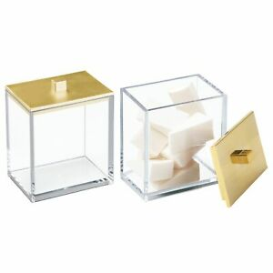 mDesign Plastic Square Storage Apothecary Jar for Bathroom, 2 Pack - Clear/Gold