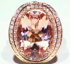 10.42CT 14K Rose Gold Natural Morganite White Diamond Vintage Engagement Ring