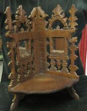 Etagère ancienne pliante en bois à deux miroirs