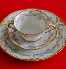 Antique Haviland Limoges Cup Sauce Plate Trio Pink Roses Wreath Double Gold!