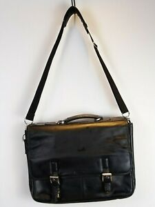 Kenneth Cole New York Black Leather Messenger/Briefcase Shoulder Bag
