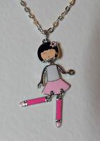 ANIME dancing GIRL DOLL PENDANT pale pink WHITE ENAMEL SILVER PL Harijuku Kawaii