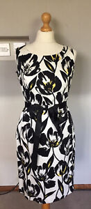 MONSOON LADIES BLACK WHITE YELLOW TULIP FITTED DRESS 12 UK