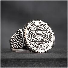 Jewish Men's Ring Talismanic Seal of Solomon Handmade 925K Silver A097