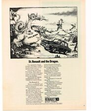 1970 RENAULT 10 St. Renault & The Dragon art by RICK MEYEROWITZ VTG PRINT AD