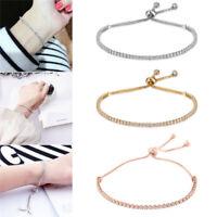 Fashion Women Cuff Jewelry Rhinestone Crystal Bracelet Adjustable Bangle Gift