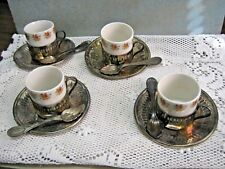 Lot of 4 BELLINI Espresso Cups & Saucers WITH SPOONS Brasil Silver Plate Vintage