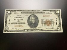New listing Mesquite, Texas 1929 National Note. Charter 6140.