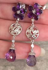 12.000 Ct. African Amethyst, White Topaz Floral Earrings  in Platinum on Silver
