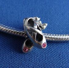 Sterling Silver .925 - Ballet Slippers - European Charm Bead for Charm Bracelet