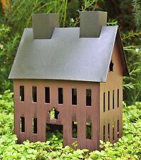 "Rustic Burgundy Tin HOUSE with Star for Miniature FAIRY GARDEN 5"" X 4"" PRIMITIVE"