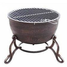 100% Cast Iron Firebowl Elidir with BBQ Grill - Rustic Bronze Fire Pit Bowl