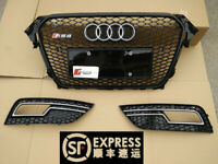 FOR 2013 2014 2015 2016 AUDi A4 B9 GLOSS BLACK RS4 TYPE MESH SPORT GRILLE B8.5