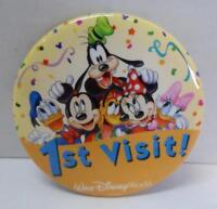 "Authentic DISNEY 3"" BUTTON 1st Visit Walt Disney World Mickey Minnie Goofy +"