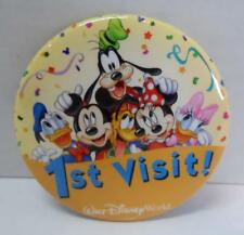 "Authentic DISNEY 3"" BUTTON 1st Visit Walt Disney World Mickey Minnie Goofy +"