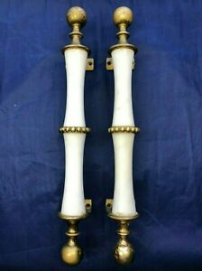 "Vintage 2 White Marble & Brass 16.25"" Long Heavy Door Pull Handles Made in Italy"