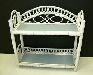 Vintage White Wicker 2 Tier Shelf Wall Free Standing Cottage Country Farmhouse