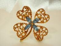 Vintage 1970's Ice Blue Rhinestone Lucky Gold Tone Ornate Clover Brooch 604JN9