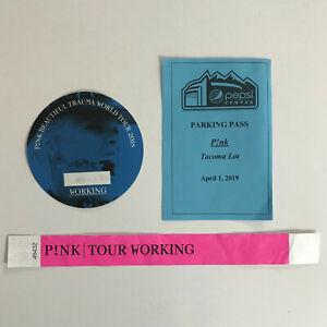 PINK BEAUTIFUL TRAUMA WORKING Pass & Tour Bracelet Backstage Sticker Badge PLUS!