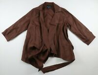 Cynthia Rowley Womens Linen 3/4 Sleeve Tie Closure Solid Brown Blouse Shirt M