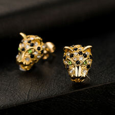 Women Yellow Gold Filled Black Green Crystal Animal Leopard Head Stud Earrings