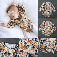 Adorable Baby Kid Girls Flower Long Sleeve Cotton Bodysuit Romper Jumpsuit 0-24M
