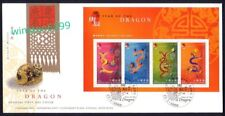 Hong Kong 2000 Zodiac Series Lunar New Year of the Dragon, Miniature Sheet FDC