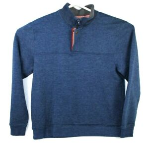 Orvis Signature Collection Pullover Sweater 1/4 Zip Snap Men XL Navy Cotton