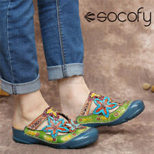 SOCOFY Womens Ethnic Style Leather Shoes Sandals Flip Flops Hook Loop Flat Mules