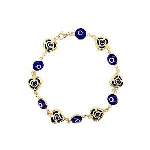 """REAL 14K Yellow Solid Gold 71/2"""" Heart Blue Color Evil Eye Bracelet 6.2gr"""