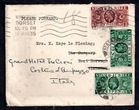 GB KGV 1935 Silver Jubilee Stamps on redirected cover to Italy WS10244