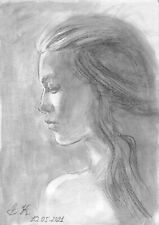 original drawing A4 65PK art watercolor pencil, watercolor female portrait 2021