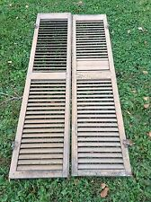 """VINTAGE PAIR OF LARGE BROWN SHUTTERS NICE UNUSUAL HARDWARE 67"""" X 14"""" 3 AVAILABLE"""