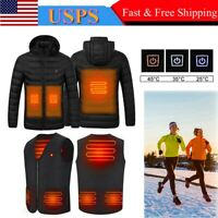 USB Electric Heated Hooded Coat Jacket / Winter Warm Heating Vest Temp Control