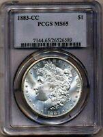 1883-CC Morgan PCGS MS-65 (Almost PL) White Silver Dollar Coin Carson City Mint