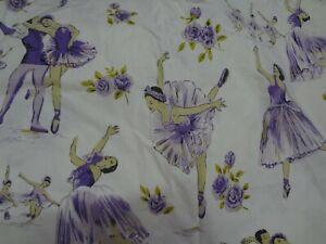 Vintage Large Purple BALLERINA Themed Fabric Remnant (55cm x 65cm)