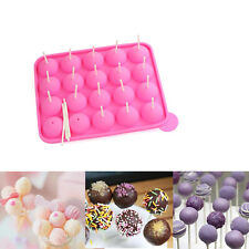 20PC SILICONE NON STICK CAKE POP MOULD TRAY SET BAKING BIRTHDAY PARTY + STICKS