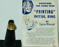 Captain Midnight Initial Seal Printing Ring (R) & Instructions Ovaltine 1948