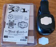 Stampin Up! WINTER POST & DESIGNER LABEL PUNCH Deer Postcard Skaters Retired