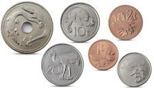 PAPUA NEW GUINEA 6 COINS SET ANIMALS FAUNA 1996 - 2006 UNC